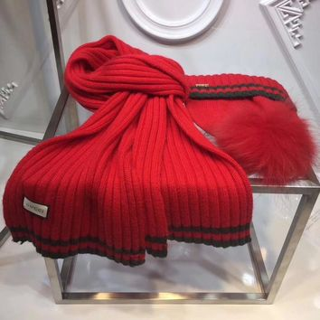 GUCCI Fashion Beanies Knit Winter Hat Cap Scarf Scarves Set Two-Piece0