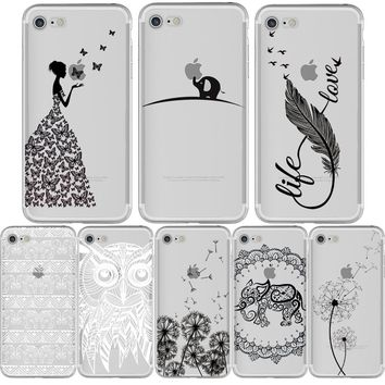 Phone Case Dandelion Butterfly Elephant Feather Owl for iphone 7 6S 6 8 PLUS 5S 5 SE X 7PLUS Silicone Transparent Cover Capinha