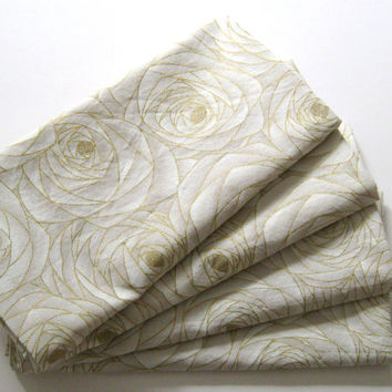 Cloth Napkins - Set of 4 - Gold White Roses Floral Flower - Dinner, Table, Everyday, Wedding