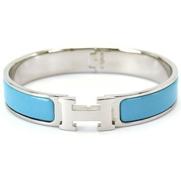 Auth HERMES Clic Clac H Bangle Bracelet Light Blue Silver Accessories 90056105