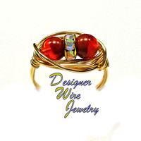DWJ0367 Vibrant Czech Glass Caramel Orange Duet Gold Plated Wire Wrap Ring All Sizes