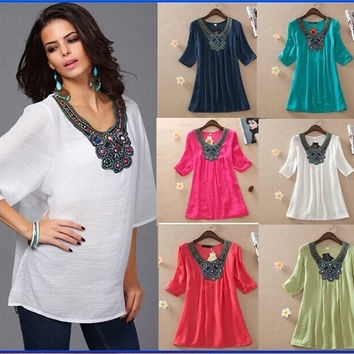 Women Bohemian Beaded Blouses Shirt New 2015 Woman Kimono Clothing Cotton Embroidered Loose Dress Summer Tops Plus Size