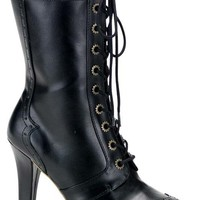 TESLA-102 Boots Black Steampunk - Platform high heels shoes and boots