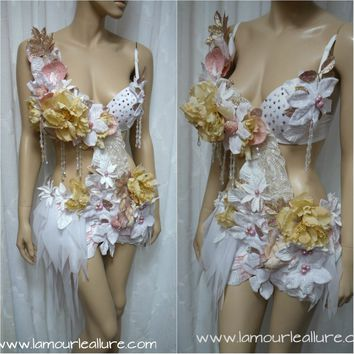 {SALE ITEM} Winter White Pink Fairy Monokini Cosplay Dance Costume Rave Bra Halloween