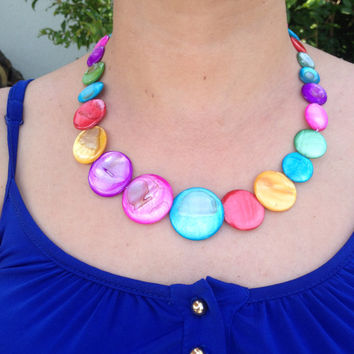 Mother of Pearl Necklace, Colorfull Necklace, Handmade Necklace , Gifts for Her