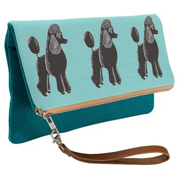 Black Standard Poodles Teal Fold-Over Clutch