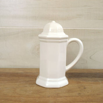 Pfaltzgraff Heritage Salt Shaker, Made in the USA Dinnerware, White Pottery Salt or Pepper Shaker with Handle