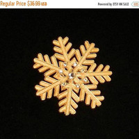 ON SALE Vintage Miriam Haskell Brooch, Gold Snowflake Brooch, Clear Rhinestone Holiday Pin, Christmas Brooch.