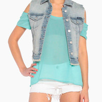 Frayed Denim Vest in Blue