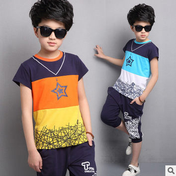 Kids Boys summer 2017 new children suit summer clothes male baby summer short sleeved T-shirt +shorts two piece suit 3-14 years
