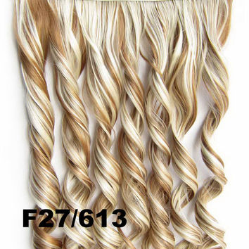 Bath & Beauty fashion Clip in synthetic hair extension hairpieces 5 clips in on wavy slice curly hairpiece GS-888 F27/613,Hair Care,COSPLAY ombre 1PCS