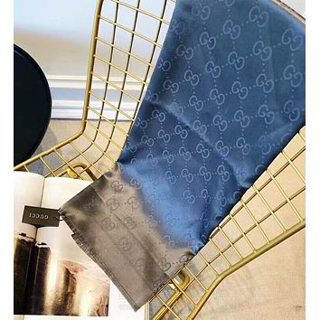 GUCCI Stylish Ladies Men Smooth Silk Scarf Silk Kerchief Cape Scarf Scarves Grey Blue I-YH-FTMPF
