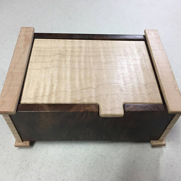 Handcrafted Figured Walnut & Tiger Maple  Jewelry/Keepsake Box