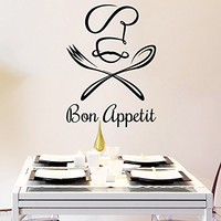 Wall Decal Vinyl Sticker Decals Chef Bon Appetit Knife Fork Spoon Cutlery Dining Room Cafe Kitchen Decor Interior Window Decal Art Murals