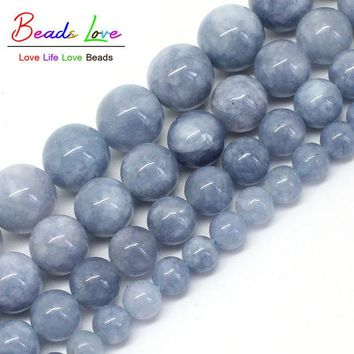 DKF4S Free Shipping Natural Stone Angelite Loose Spacer Beads 6 8 10 12mm Strand 15' For Jewelry Making-F00270