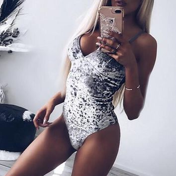 BBYES Strap Velvet Bodysuit Top Skinny Sexy Off Shoulder V Neck Bodysuits Women Sleeveless Bodysuit Short Jumpsuit Romper