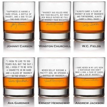 Whiskey Lovers Engraved Personalized Cocktail Glasses Full Set