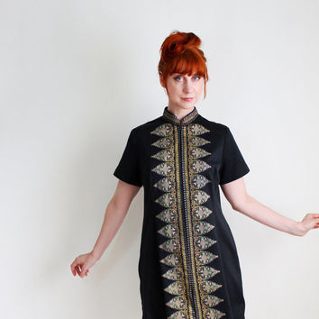 1960s Black Mod Dress. Day Dress. Graphic Print. Mad Men Fashion. Office. Summer Fashion
