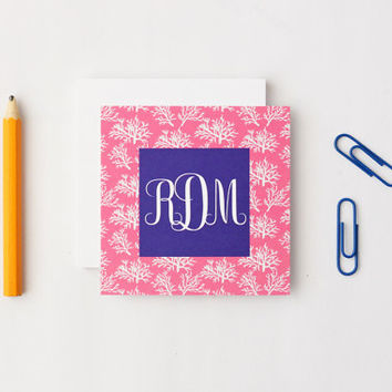 Personalized Gift Enclosure Cards Custom Small Cards Pink and Navy Coral Monogram Girl Gift Tags Beach Tags Lilly Pulitzer Cards / Set of 25