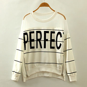Round-neck Stripes Alphabet Lace Mosaic Pullover Zippers Long Sleeve Hoodies [4919310404]