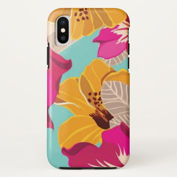 Blue Yellow Pink Floral iPhone X Case