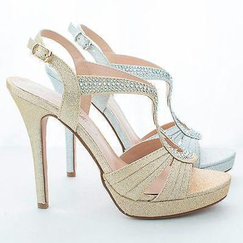 Kimi16 Nude Sparkle By Blossom, Rhinestone Studded Cut Out Sling Back Platform Stiletto Pumps