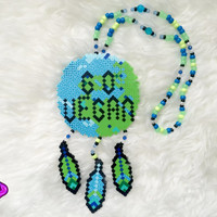Vegan Kandi Perler Necklace Go Vegan Dreamcatcher Pony Bead Necklace Kandi Feather Dream Catcher Earth Perler EDM EDC Wear Custom Kandi