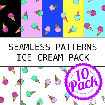 Seamless Patterns JPG Files - Ice Cream Pack - Digital Scrapbook Paper Pack