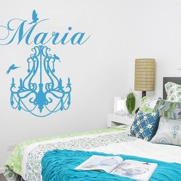 Chandelier Birds Beautiful Wall Decals With Personalized Baby Name S