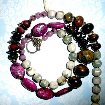 CHUNKY LONG GEMSTONE Necklace, Handcrafted Long Beaded Gemstone Necklace, Purple Kiwi Jasper Agate Jade, Tibetan Silver Clasp