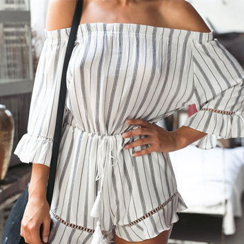 Striped High-waisted Three-quarter Sleeve  Off Shoulder Rompers