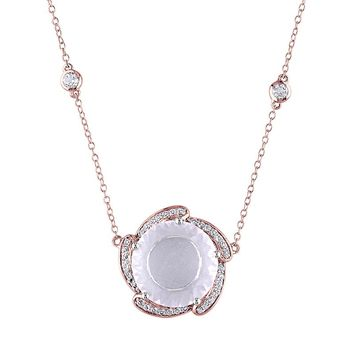 Rose Quartz & White Topaz Pink Rhodium-Plated Sterling Silver Station Necklace