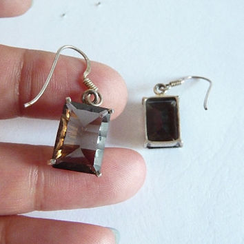 Smokey Quartz, Quartz Earrings, smokey earrings, gemstone earrings, rectangle earrings, gemstone, smokey quartz, quartz, silver plated,