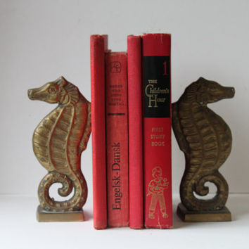Vintage Brass Seahorse Bookends, Book Ends, Marine, Nautical,
