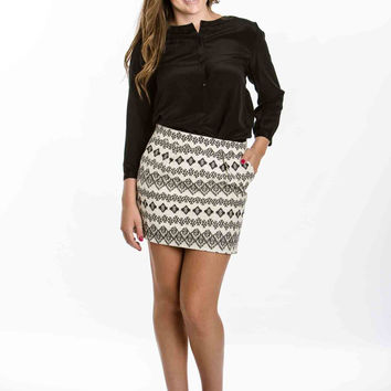 Black and White Aztec Print Skirt by Freeway