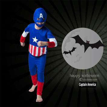 Superhero Cosplay Captain America Costume For Kids Spiderman Costume Child Halloween Part Wear