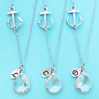 Set of 1-4, Nautical,Clear, Crystal, Wedding, Necklace, Marine, Anchor, Bridesmaid, Necklace, Bridal, Jewelry, Wedding, Gift, Jewelry