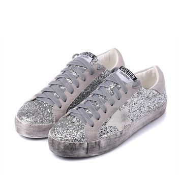 2017 New Woman Glitter Star Casual Shoe Flat Spring Korean Distressed Leather Silver Green Lace Up Vintage Do Old Dirty Shoe
