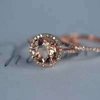 Two- Rings wedding set, 8mm Morganite Engagement Ring with wedding  Band