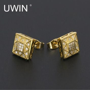 UWIN New Men AAA CZ Rhinestone Crystal Stud Earrings Copper Material Gold Color Square Earrings Fashion Hip Hop Jewelry