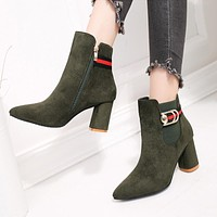 Scrub Pure color Side Zipper Chunky Heel Pointed Toe High Heels Ankle Boots