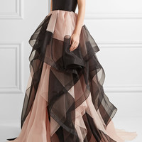 Reem Acra - Strapless layered silk-faille and tulle gown