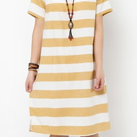 Yellow and White Striped Short Sleeve Midi Dress