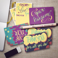Tiny Love Notes | Appreciation note cards | 3 X 2 | You're Awesome | You Rock | I luv you because | Thank you for all you do | 8 LOVE cards