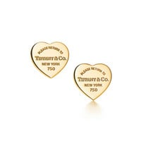 Tiffany & Co. - Return to Tiffany™ mini heart tag earrings in 18k gold.