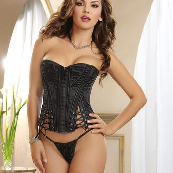 Stunning Strapless Embroidered Satin Corset