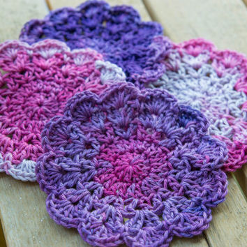 Shades of purple set of 4 crochet coasters