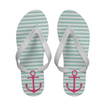 Mint and Pink Preppy Nautical Stripes and Anchor Flip Flops from Zazzle.com
