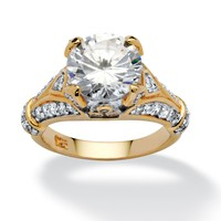 4.66 TCW Round Cubic Zirconia 18k Gold over Sterling Silver Engagement Anniversary Ring