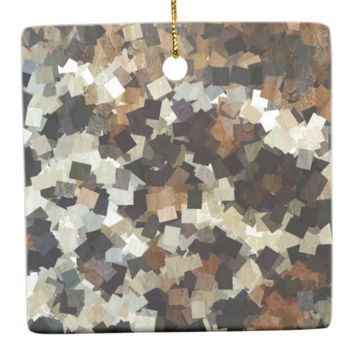 Leopard Style Brown Black Square Pattern Ceramic Ornament